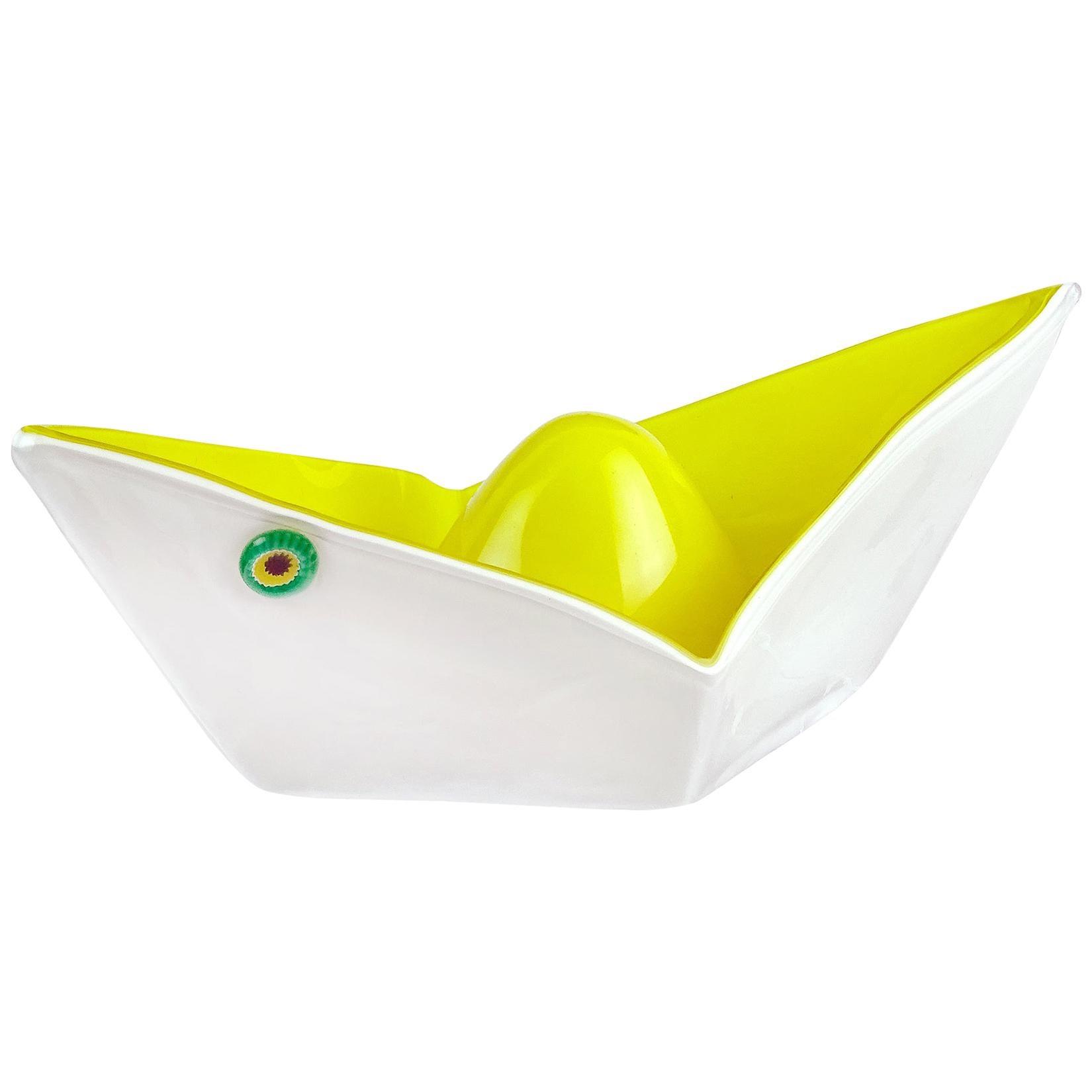 Gino Vistosi Murano 1961 Origami Paper Boat Italian Art Glass Sculptural Bowl