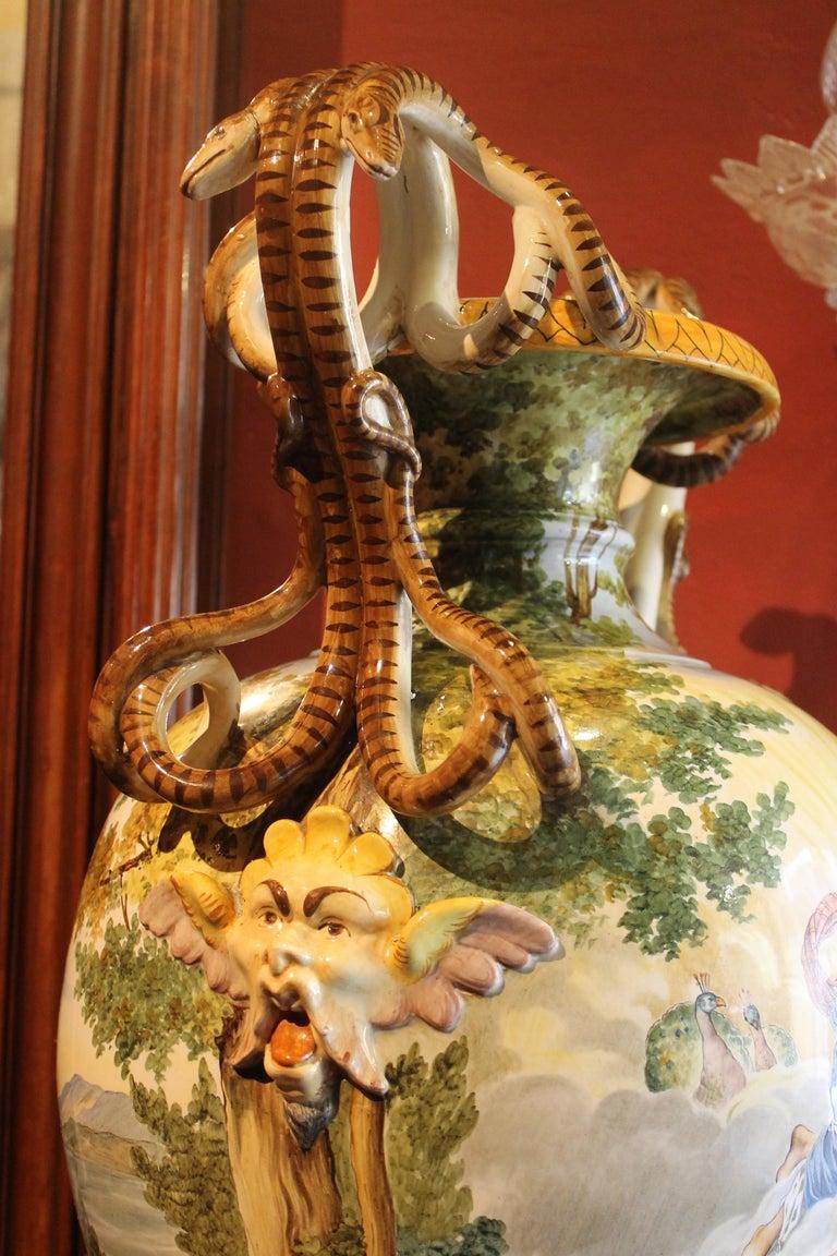 Ginori, Italian Hand Painted Faience Vase, Snakes Handles Renaissance Revival 5