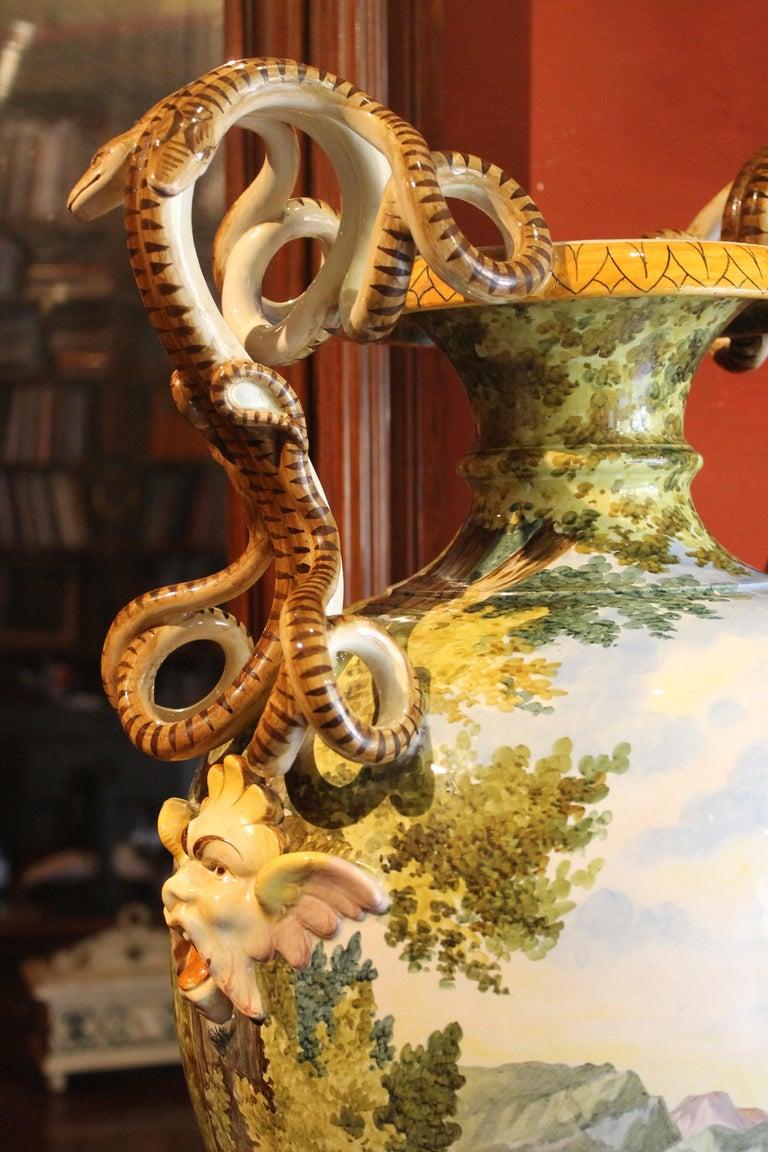 Ginori, Italian Hand Painted Faience Vase, Snakes Handles Renaissance Revival 6