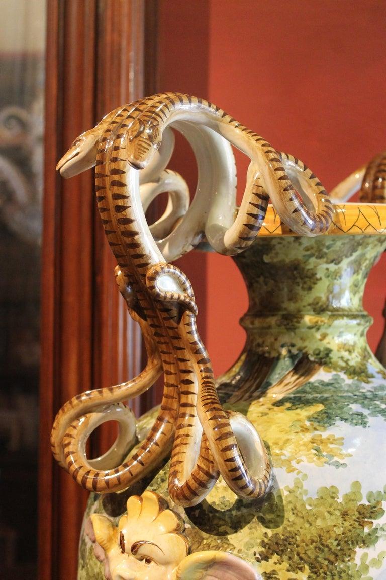 Ginori, Italian Hand Painted Faience Vase, Snakes Handles Renaissance Revival 7