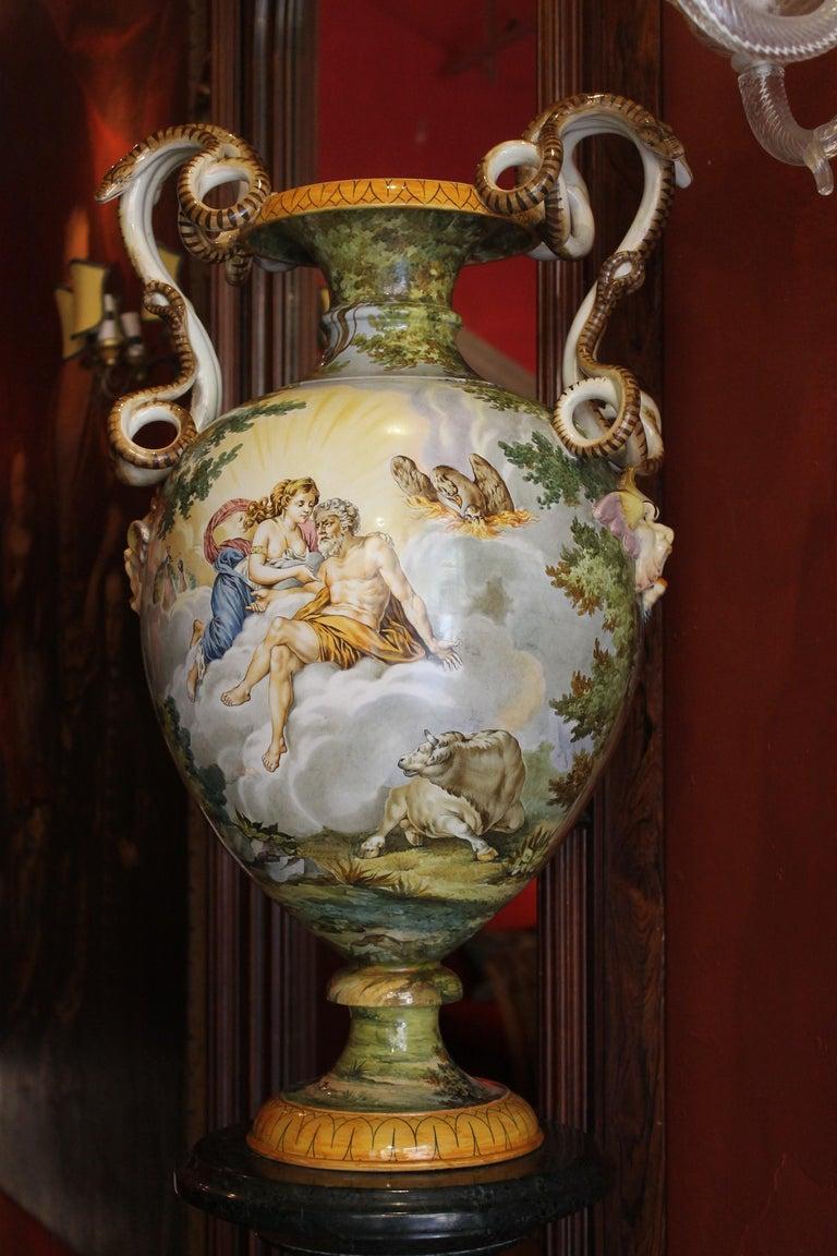 Hand-Painted Ginori, Italian Hand Painted Faience Vase, Snakes Handles Renaissance Revival