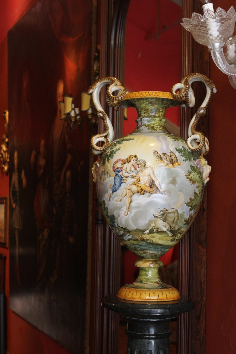 Ginori, Italian Hand Painted Faience Vase, Snakes Handles Renaissance Revival In Good Condition In Firenze, IT