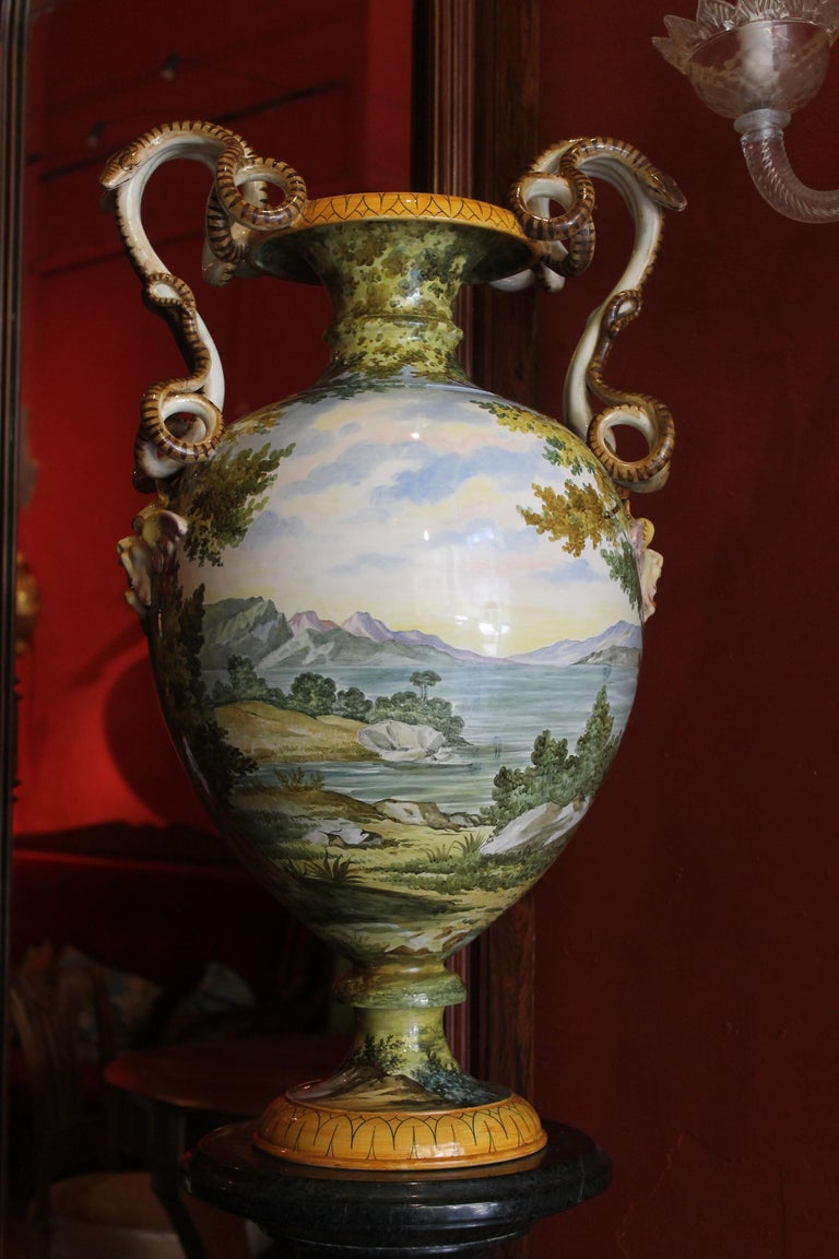 19th Century Ginori, Italian Hand Painted Faience Vase, Snakes Handles Renaissance Revival