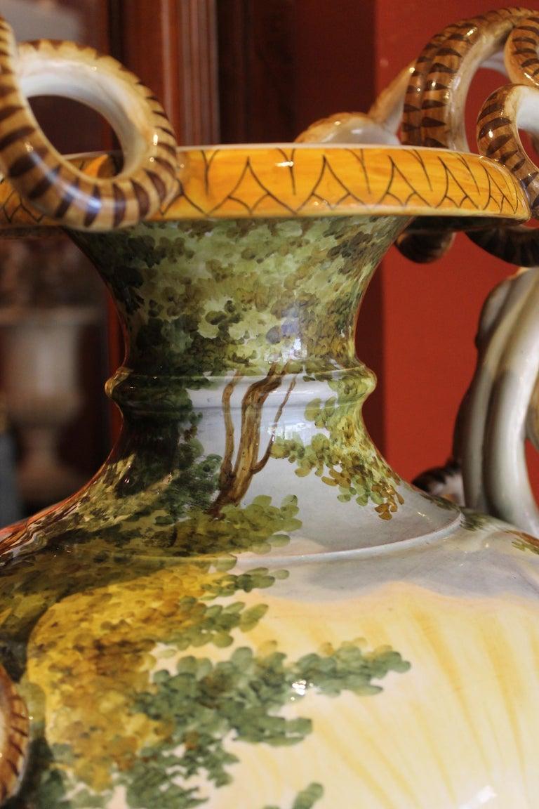 Ginori, Italian Hand Painted Faience Vase, Snakes Handles Renaissance Revival 4