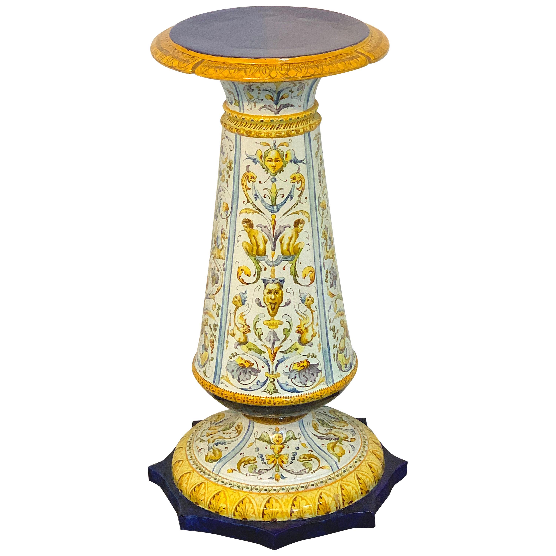Ginori Italian Renaissance Style Majolica Pedestal, Provenance Celine Dion