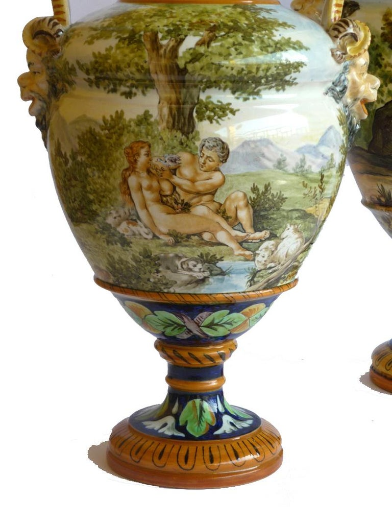 Pair of Majolica vases  Perfect condition, just 3 slight difects (look the pictures).  Measures: H 43 cm H 35 cm.