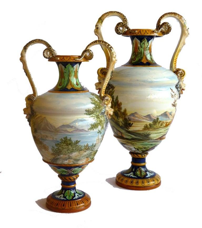 Ginori 19th Century Italian Renaissance Style Majolica Pair of Vases For Sale 1