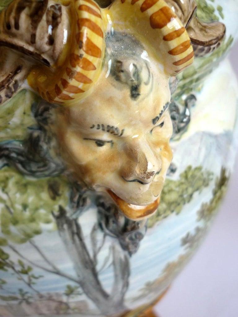 Ginori 19th Century Italian Renaissance Style Majolica Pair of Vases For Sale 2