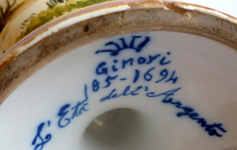 Ginori 19th Century Italian Renaissance Style Majolica Pair of Vases For Sale 6