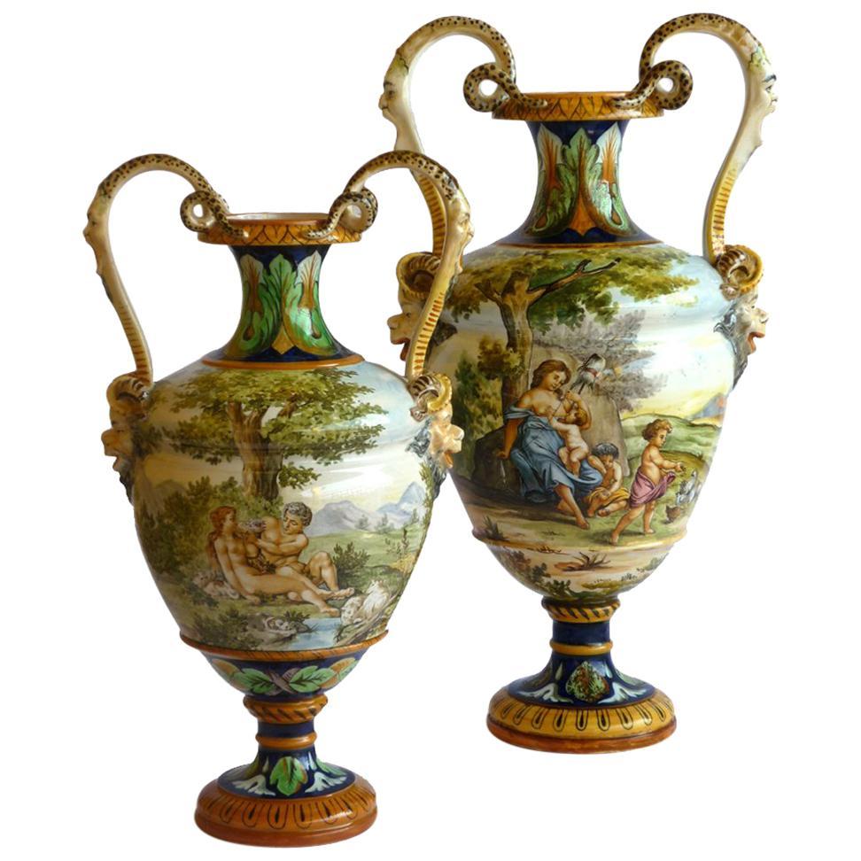 Ginori 19th Century Italian Renaissance Style Majolica Pair of Vases