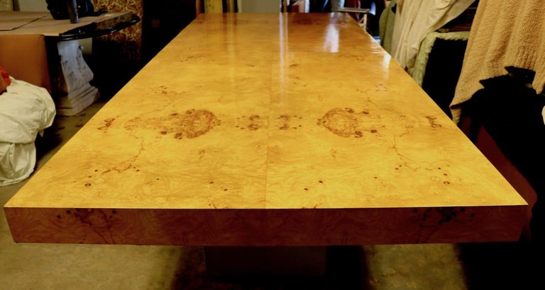 American Ginormous Burl Top Conference Dining Table after Baughman For Sale