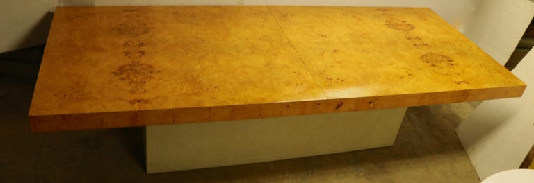 Upholstery Ginormous Burl Top Conference Dining Table after Baughman For Sale