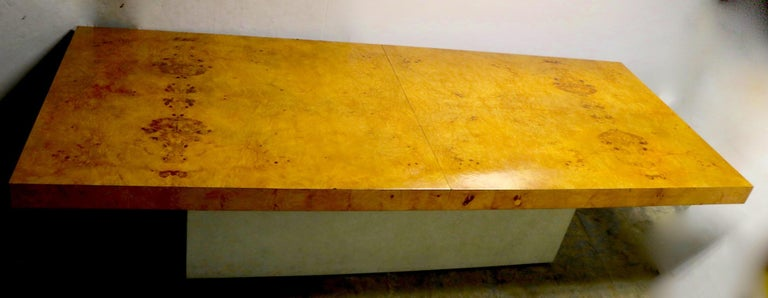 Ginormous Burl Top Conference Dining Table after Baughman For Sale 1