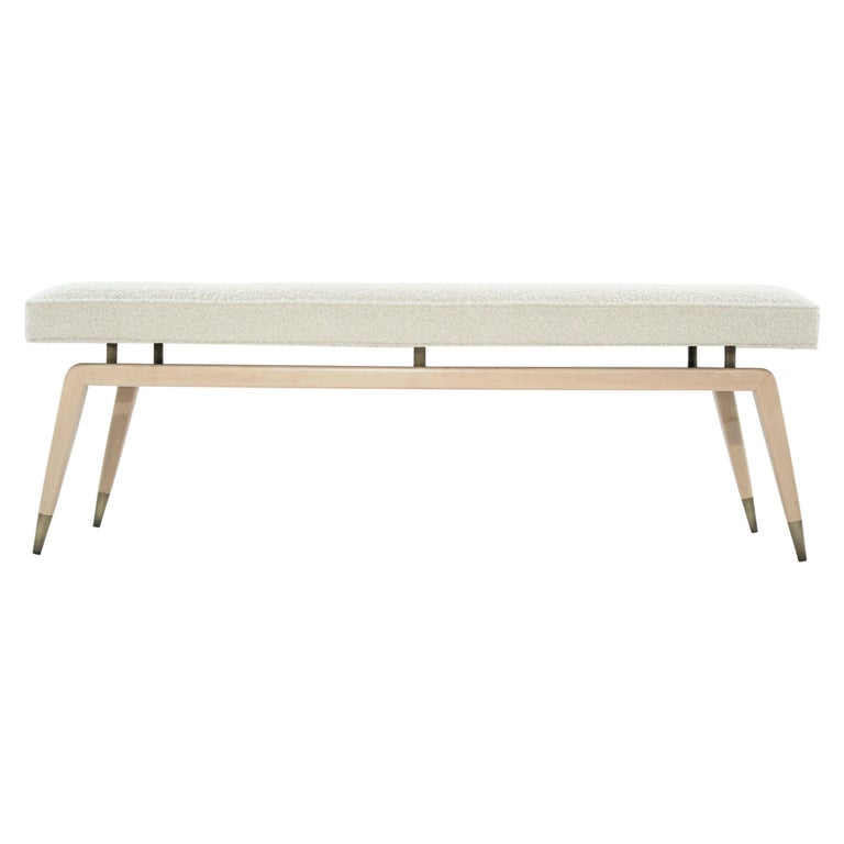 Brass Gio Bench in Natural Maple For Sale