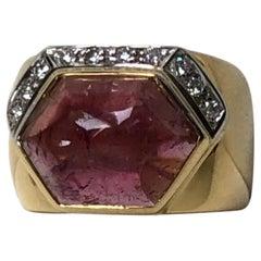Gio Caroli 18K Yellow and White Gold Ring with a 5.00ct Tourmaline and Diamonds