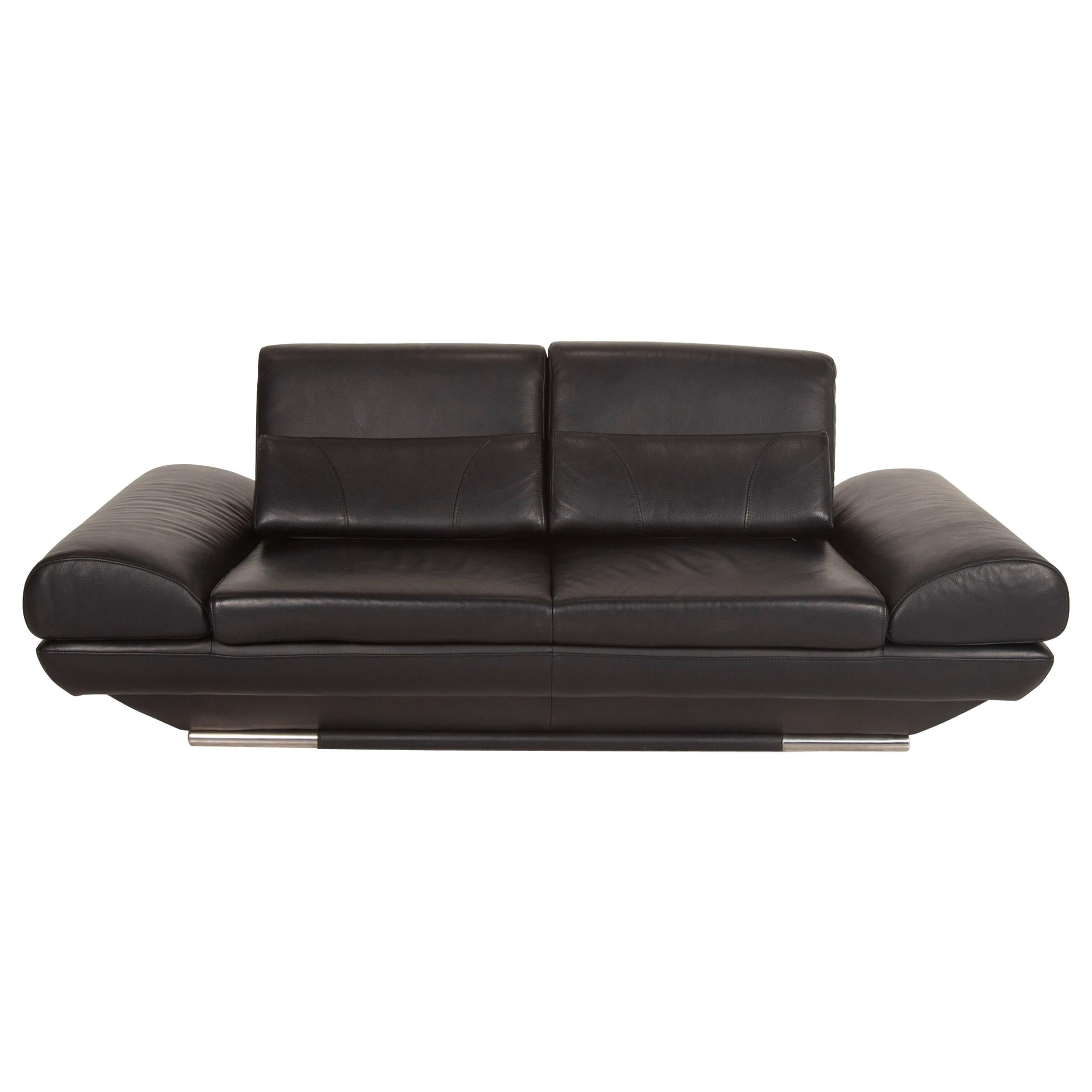 Gio Mano Leather Sofa Black Two-Seater Function