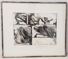 Gio Pomodoro Pencil Signed Abstract Black and White Etching c.1963
