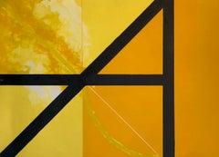 Square Against Light, Italian Modernist Lithograph Gio Pomodoro Yellow, Orange
