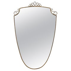 Gio Ponti 1940's Brass Shield Shaped Mirror