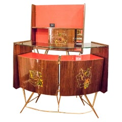 Ico Parisi Style Red Color and Rosewood Italian Bar Cabinet and Display Case