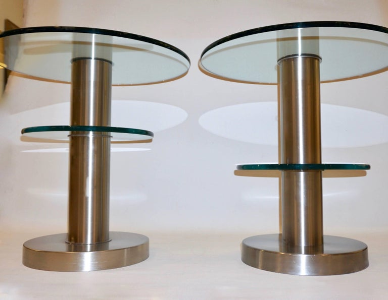 Organic Modern Gio Ponti 1990s Fontana Arte Pair of Clear Glass and Nickel Round Side Tables For Sale