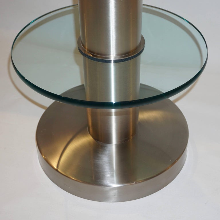 Brushed Gio Ponti 1990s Fontana Arte Pair of Clear Glass and Nickel Round Side Tables For Sale