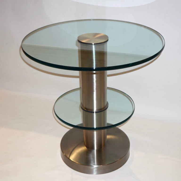 Gio Ponti 1990s Fontana Arte Pair of Clear Glass and Nickel Round Side Tables In Excellent Condition For Sale In New York, NY
