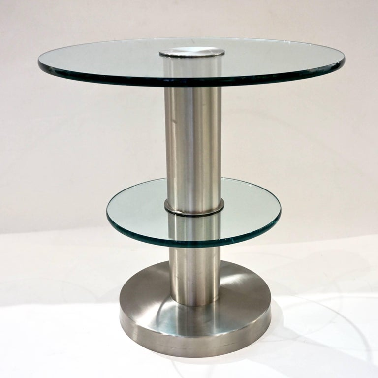 Late 20th Century Gio Ponti 1990s Fontana Arte Pair of Clear Glass and Nickel Round Side Tables For Sale