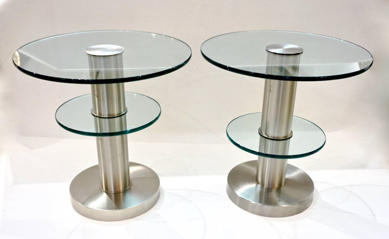 Cut Glass Gio Ponti 1990s Fontana Arte Pair of Clear Glass and Nickel Round Side Tables For Sale