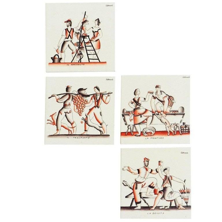 """Gio Ponti Four Original """"Bacco"""" Ceramics for Richard Ginori"""