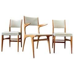 "Gio Ponti ""602"" Dining Chairs and Office Chair for Cassina, 1954, Set of 3"