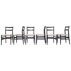 "Gio Ponti 646 ""Leggera"" Dining Chair for Cassina, Cord Seat, 1956, Set of Six"