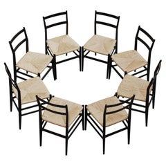 "Gio Ponti 646 ""Leggera"" Dining Chairs for Cassina, 1952, Set of 8"
