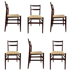 "Gio Ponti 646 ""Leggera"" Dining Chairs for Cassina, 1956, Set of 6"