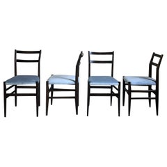 "Gio Ponti 646 ""Leggera"" Dining Chairs for Cassina, 1955, Set of 4"