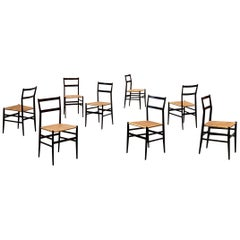 "Gio Ponti 699 ""Superleggera"" Dining Chairs for Cassina, 1957, Set of 8"