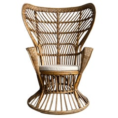Gio Ponti and Carminati Bamboo Italian Peacock Chair 1950s