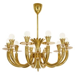 Gio Ponti and Emilio Lancia Rare 10-Arm Chandelier