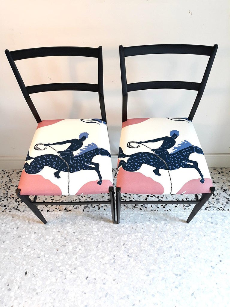 Fabric Gio Ponti and Vincent Darré  Pair