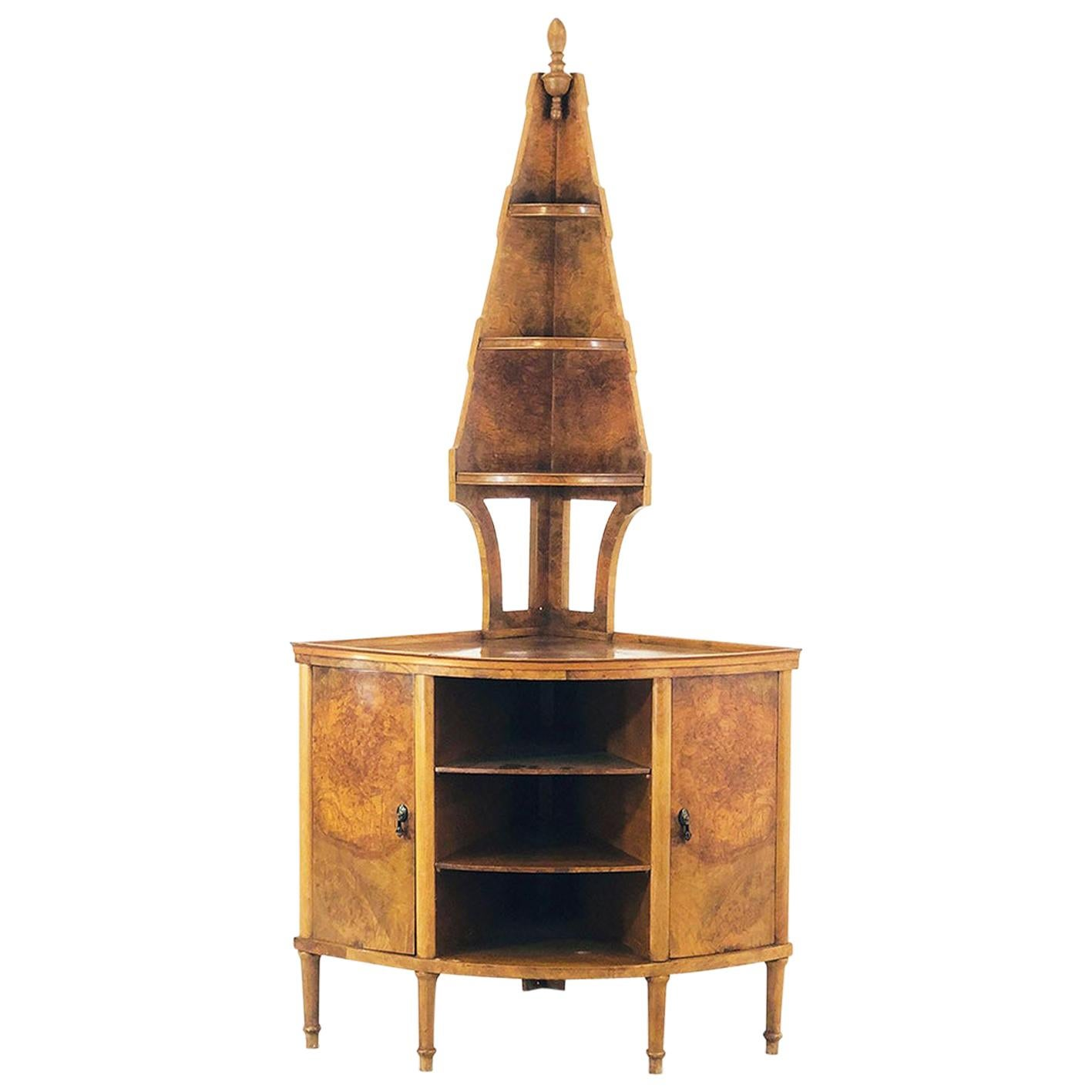 Gio Ponti Angular Cabinet Walnut Art Deco Execution Paolo Lietti, Cantù of 1925