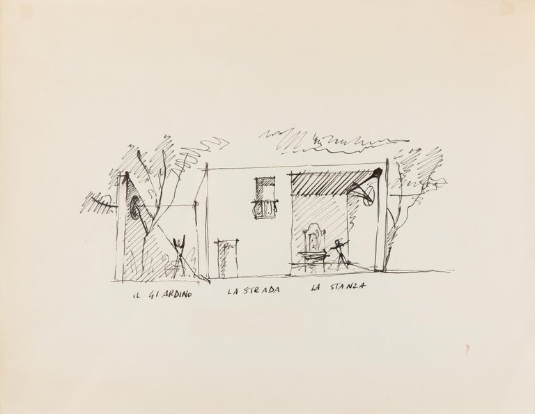 Gio Ponti had a significant impact on the residential housing in Bordighera, Italy. This is a wonderful architectural rendering from one of those homes. The drawing comes with authentication from the Gio Ponti archives.