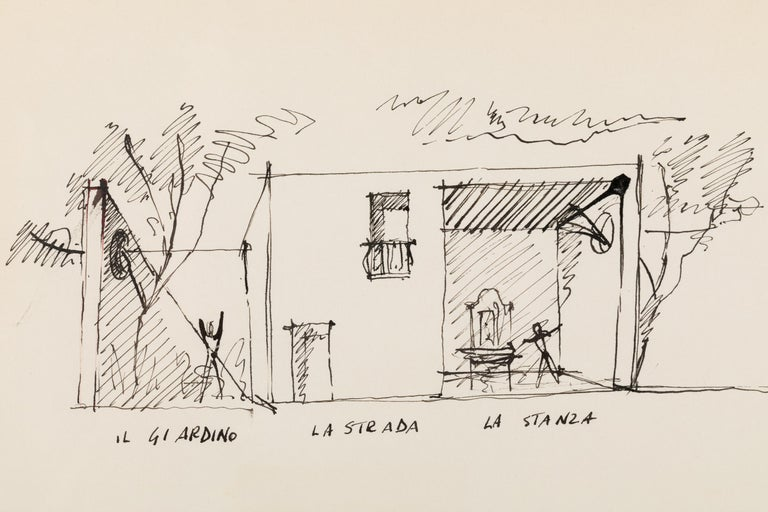 Mid-Century Modern Gio Ponti Architectural Drawing