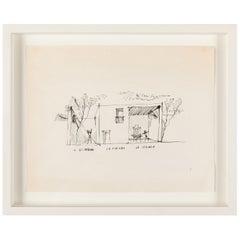 """Gio Ponti Architectural Drawing """"Disegno di una Villa a Bordighera"""" Italy, 1940s"""