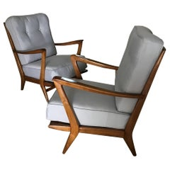 Pair of Italian Armchairs, Wood and Cotton, 1950