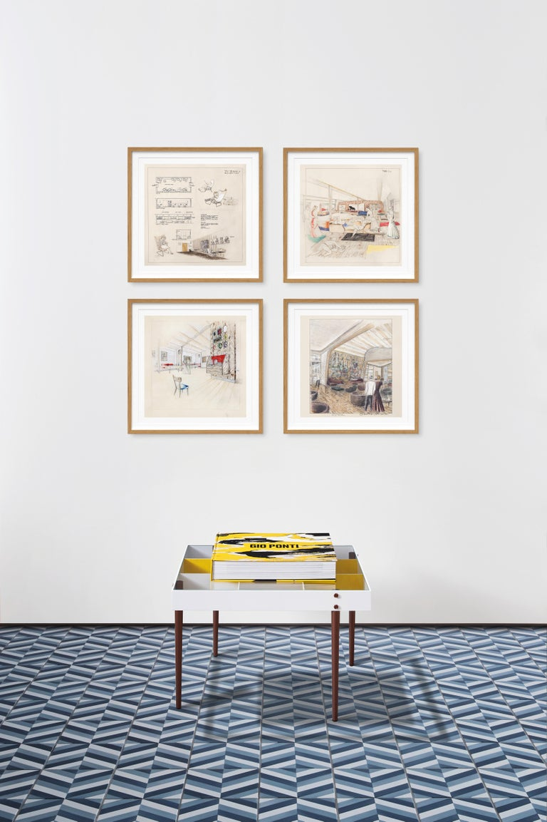This numbered Art Edition of 1,000 copies (Hardcover book, 36 x 36 cm, 572 pages) is accompanied by an exclusive, square format reproduction of the Arlecchino coffee table designed by Gio Ponti and a set of four numbered ocean liner interior prints