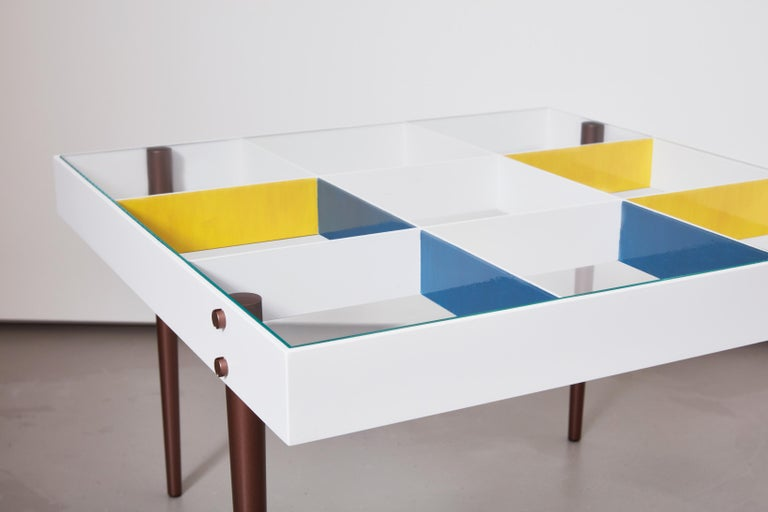 Hand-Painted Gio Ponti, Art Edition, the Planchart Coffee Table and a Set of Four Art Prints For Sale