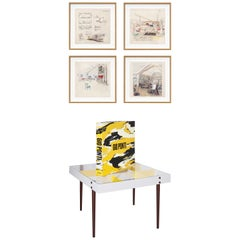 Gio Ponti, Art Edition, the Planchart Coffee Table and a Set of Four Art Prints