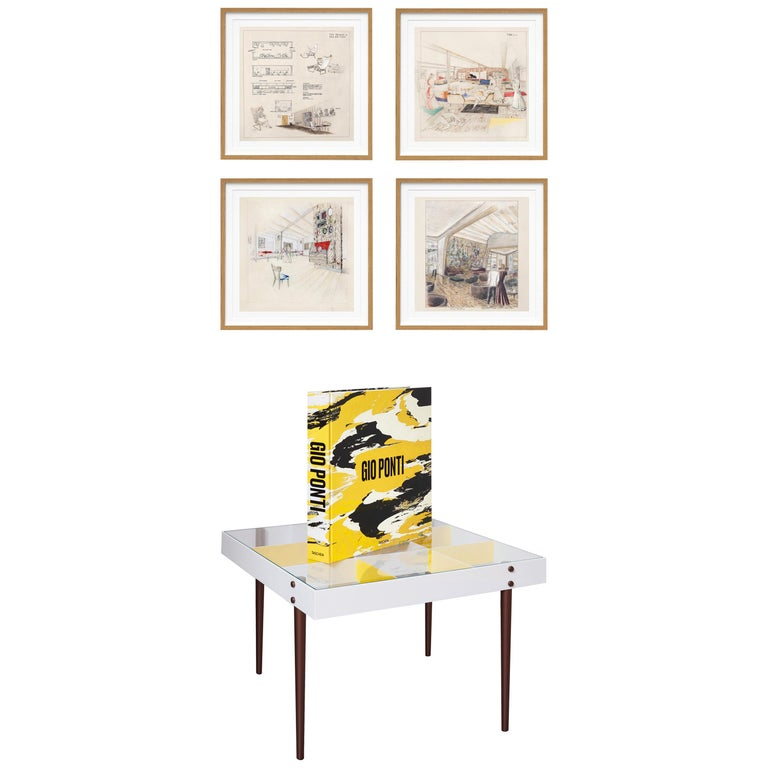 Gio Ponti, Art Edition, the Planchart Coffee Table and a Set of Four Art Prints For Sale