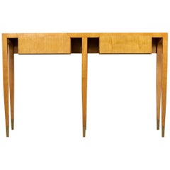 Gio Ponti Ashwood Console Table with Brass Details, 1950s
