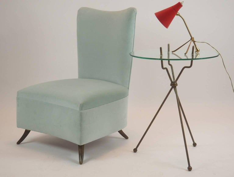 Italian Gio Ponti Attributed Fine Armchair Manufactured by ISA, Bergamo, Italy, 1950s For Sale